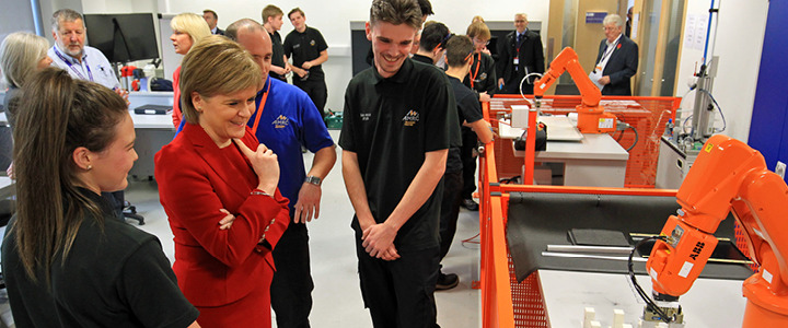 The First Minister of Scotland, Nicola Sturgeon MSP, meeting apprentices at the AMRC Training Centre robotics lab.