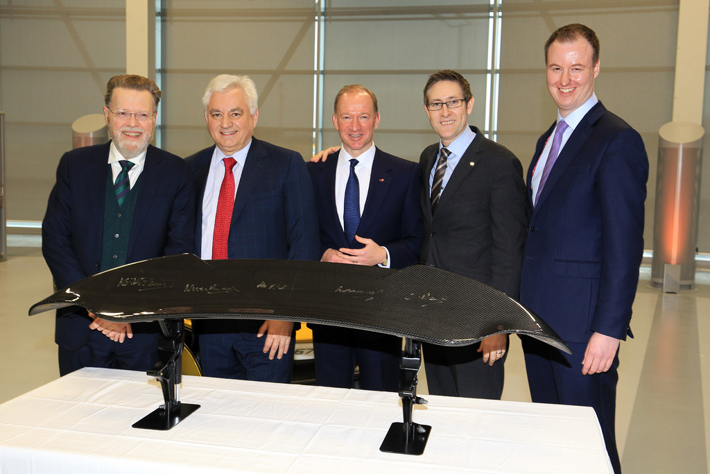 A McLaren Automotive carbon fibre airbrake was signed by partners in celebration of the new AMRC partnership.