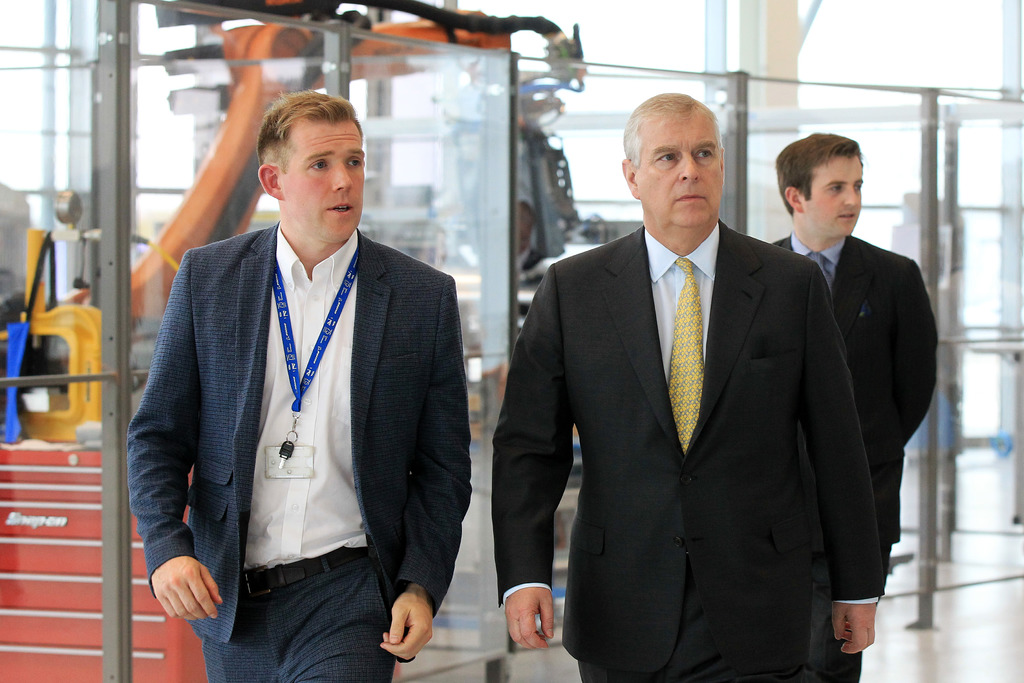 (l-r) Mr Ben Morgan, Head of the AMRC Integrated Manufacturing Group takes HRH The Duke of York on a tour of the AMRC Factory 2050.