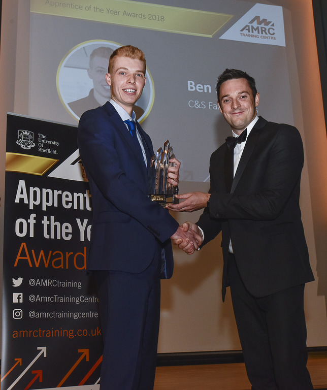 Ben was presented his award by Boeing Sheffield Operations Manager, James Needham.