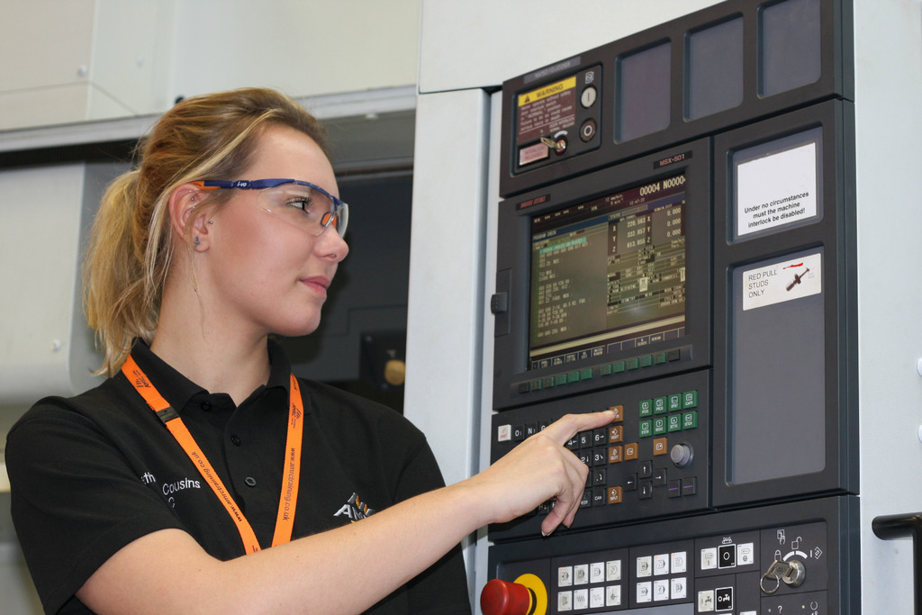 The AMRC's Beth Cousins who has been working with Boeing apprentices to familiarise them with the machining programmes and capabilities, ready for the start of operations at Boeing Sheffield.