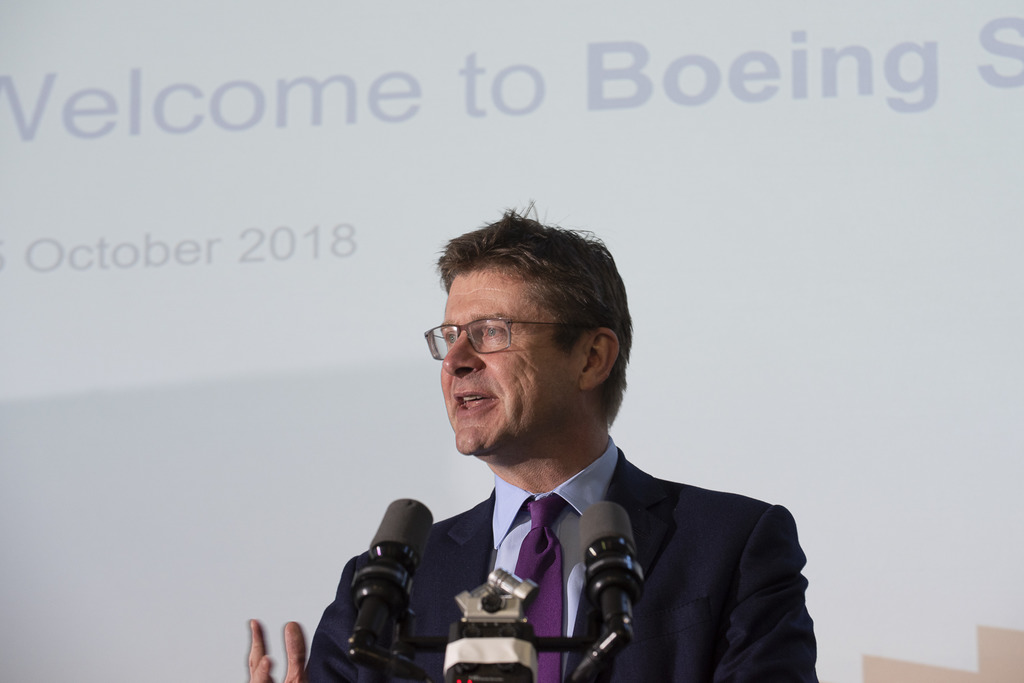 Secretary of State, Greg Clark, speaking at the opening of Boeing Sheffield.