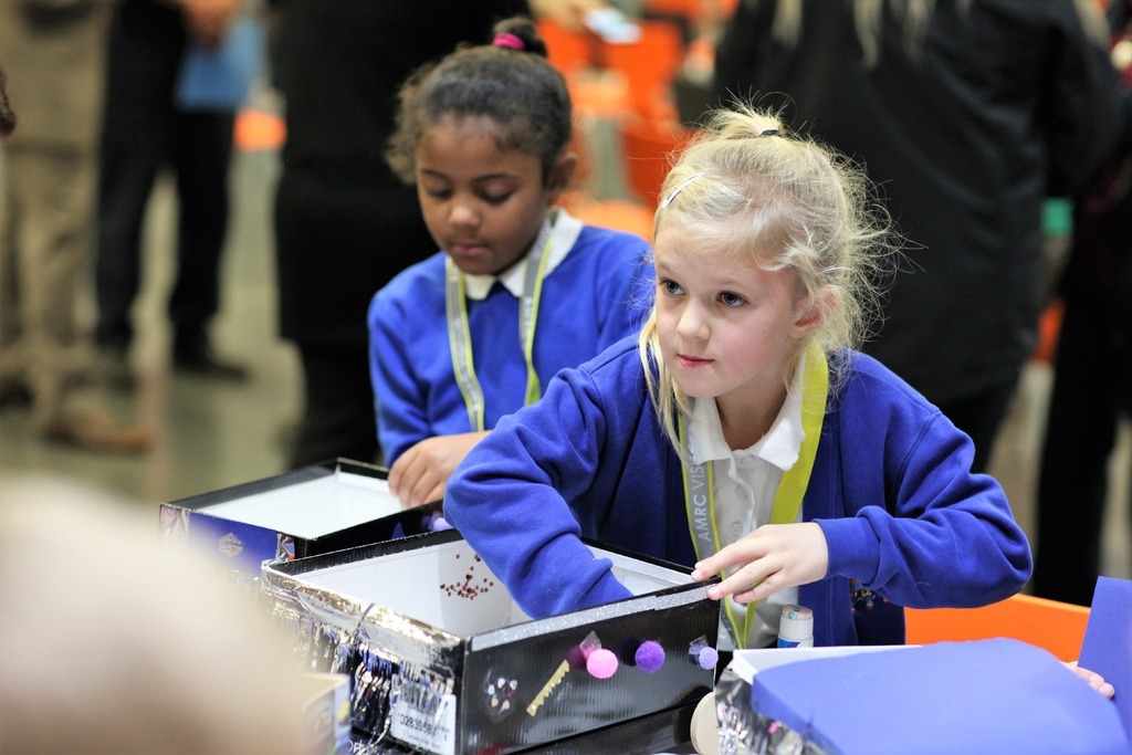 Pupils from Dinnington Community Primary work on their engineering skills building and decorating their own shoebox car as part of the celebrations at the launch event at the AMRC Training Centre.