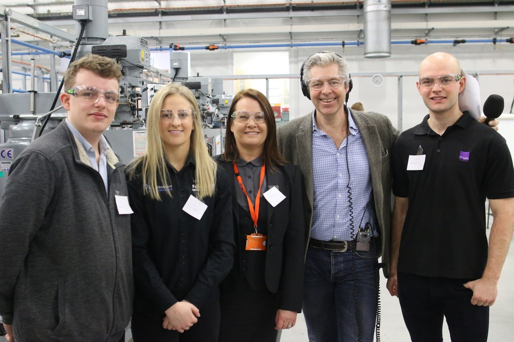 Apprentices Sam Cowley, Leigh Worsdale, Oliver Marsh and AMRC Training Centre Director Nikki Jones were interviewed live on BBC Radio 4's Today Programme by Justin Webb.