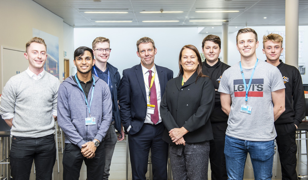 President and Vice-Chancellor of the University, Professor Koen Lamberts with Director of the AMRC Training Centre, Nikki Jones and apprentices.