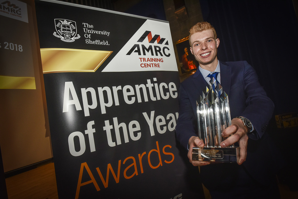 Ben Siddall, the 2018 winner of the overall AMRC Training Centre Apprentice of the Year Award.