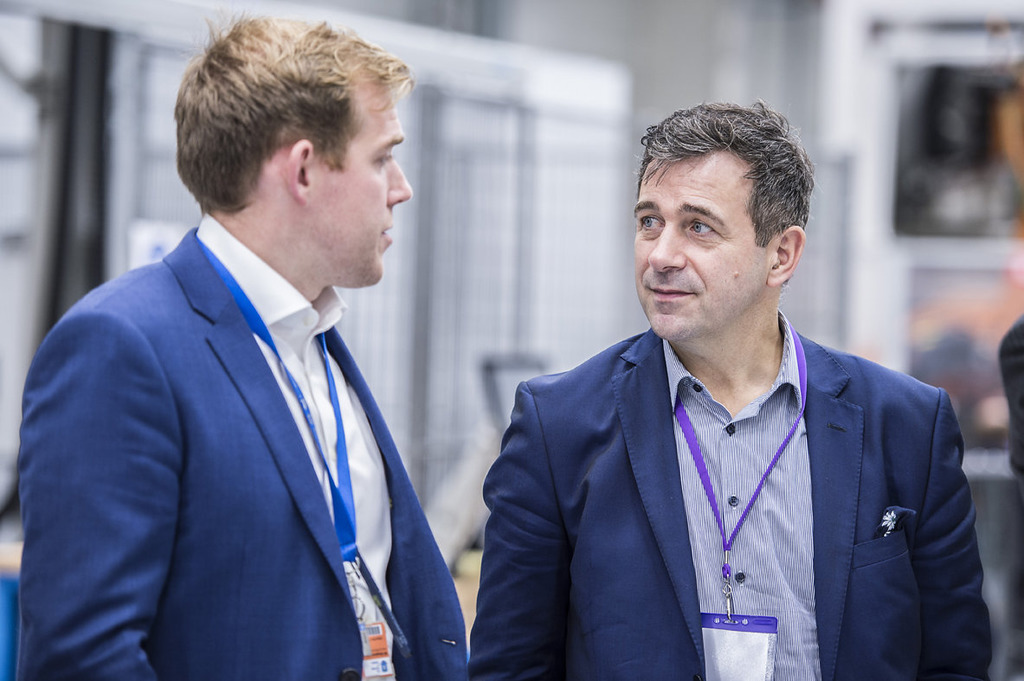On tour: Ben Morgan, Head of the AMRC Integrated Manufacturing Group and Juergen Maier deep in conversation about the implications of Made Smarter for the UK economy.