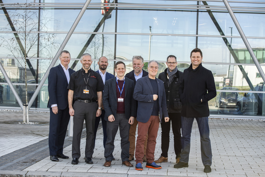 George Clarke, right, with MOBIE members Gerry Ruffles, Mark Farmer, Mark Southgate, Nick Riley, AMRC CEO Colin Sirett, Allan Griffin, head of construction and infrastructure strategy at the AMRC, and Chris Greaves, head of operations at Factory 2050.