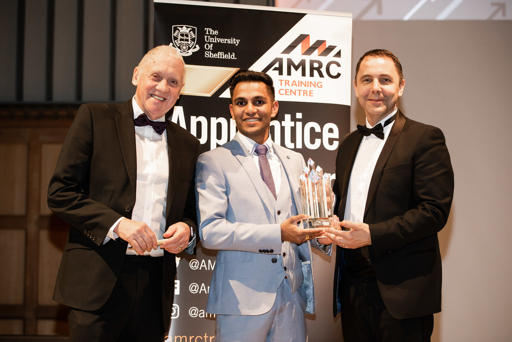 All smiles: Look North presenter and ceremony host for the evening Harry Gration with the overall Apprentice of the Year winner Shivan Morkar and Brian Holliday, managing director for Siemens Digital Factory.