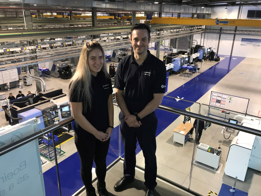 Roisin Chapman-Allison and James Needham on the balcony at the new Boeing Sheffield facility.
