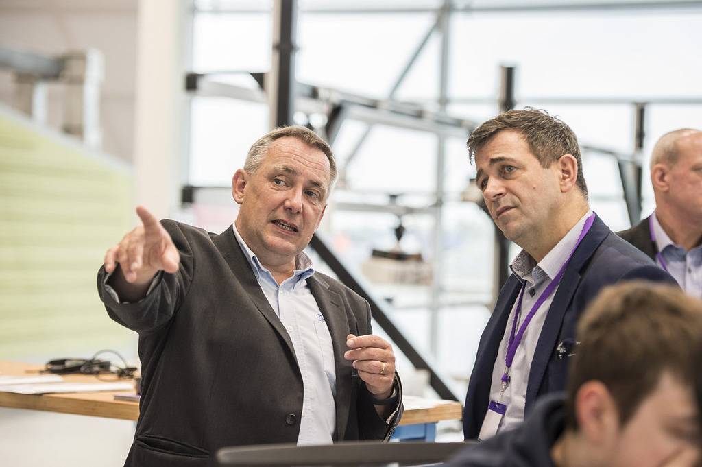 Professor Scott with Juergen Maier during a visit to the AMRC.