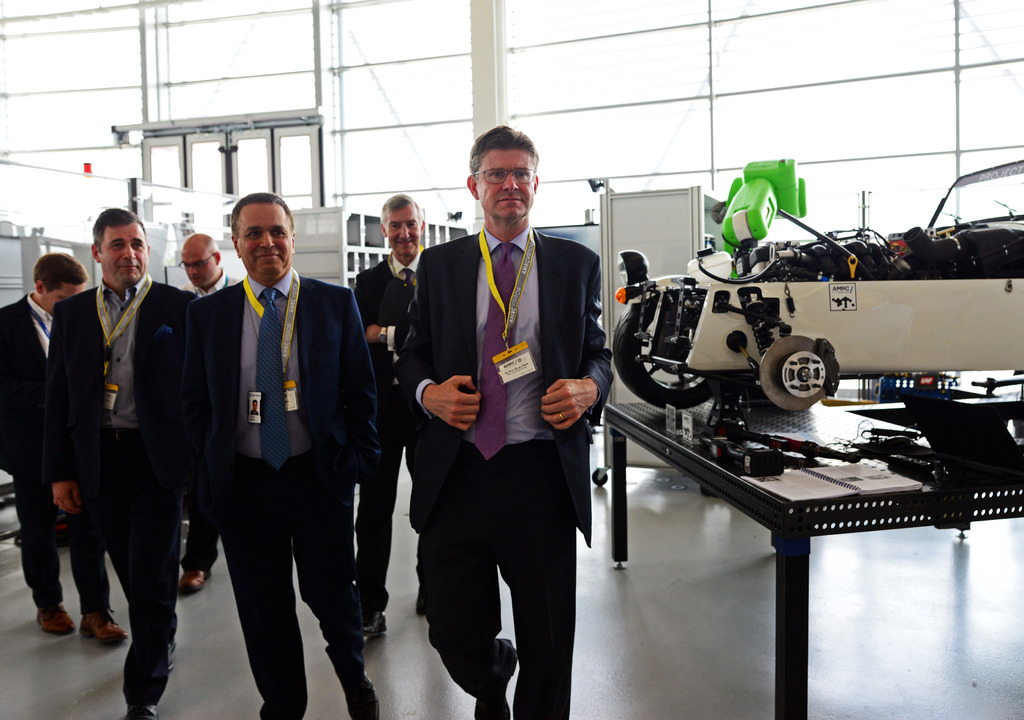 Greg Clark, Hamid Mughal and Juergen Maier toured the AMRC's flagship Factory 2050 as part of the test bed launch.