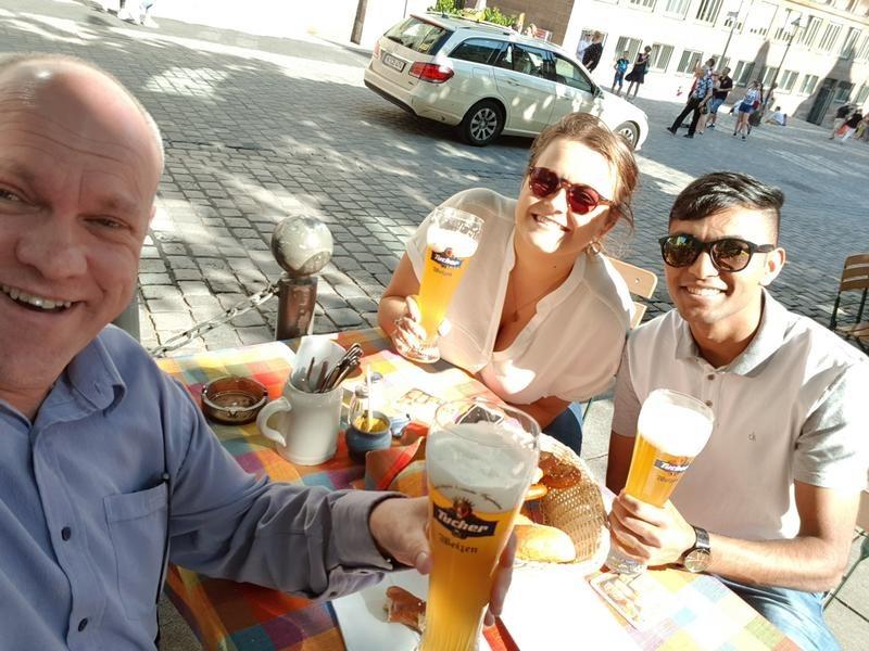 Alan Norbury, Sian Court and Shivan Morkar enjoying the German culture.