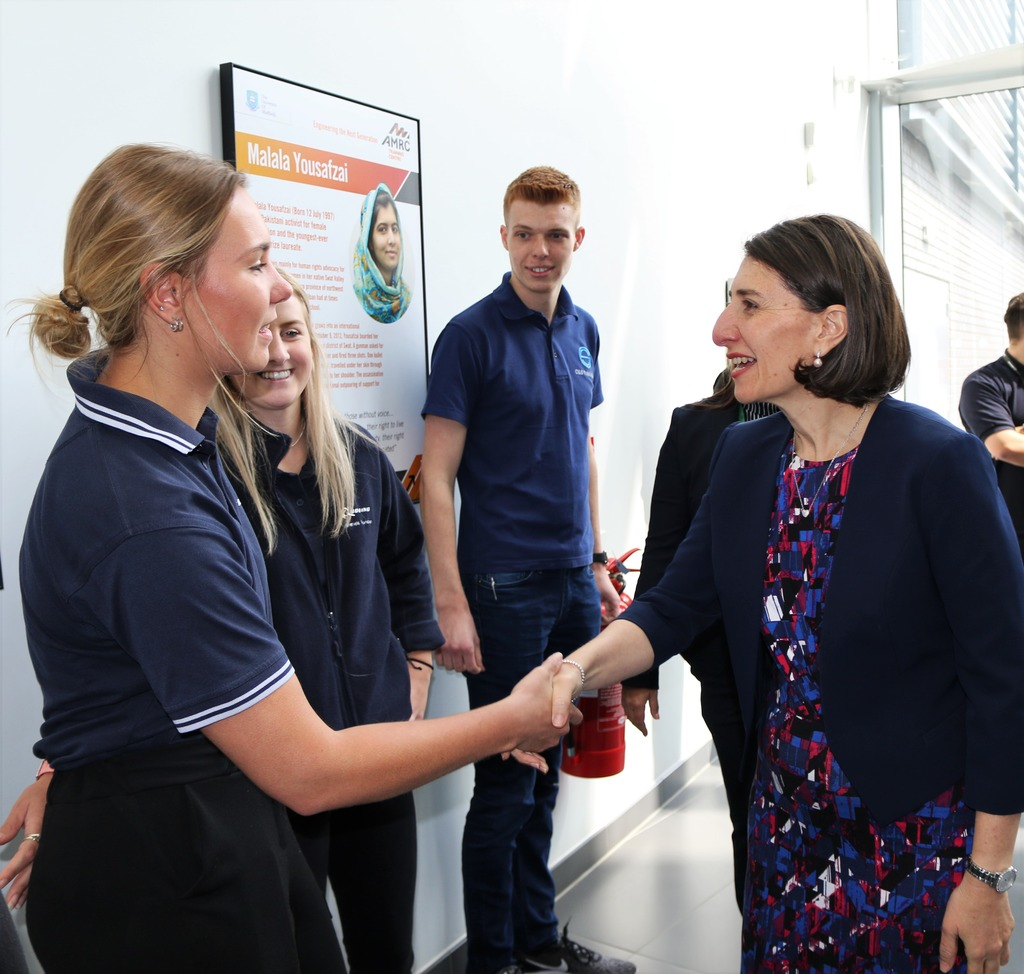 The Premier meeting apprentices Beth Cousins, Leigh Worsdale and Ben Siddall.