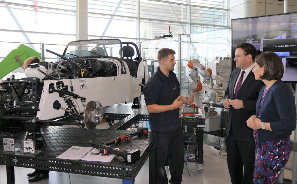 IMG's James LIndsay speaking to the Premier and Minister about digital manufacturing.
