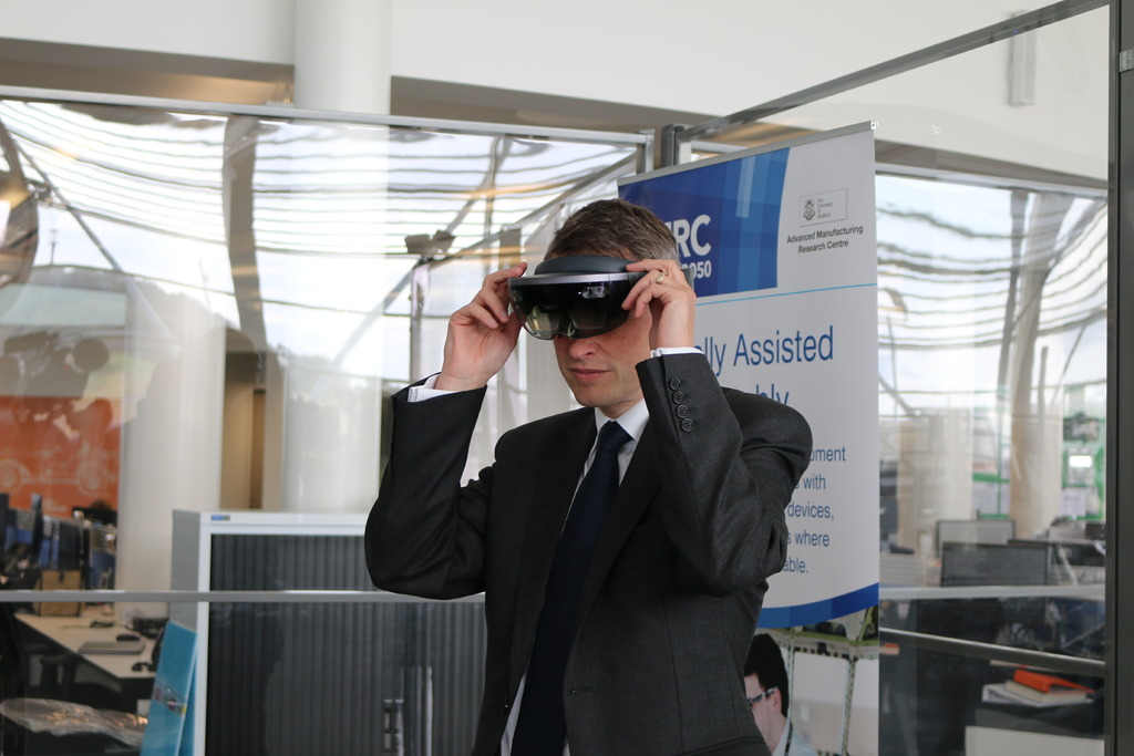 Seeing is believing for Mr Williamson who tested out the AMRC's immersive reality capabilities.