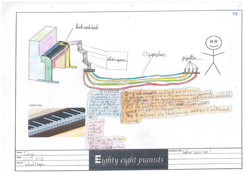 The original design for the 'Water Whirler!' by students at Woodthorpe Community Primary School in Sheffield, one of the 88 mechanisms used to break the world record.