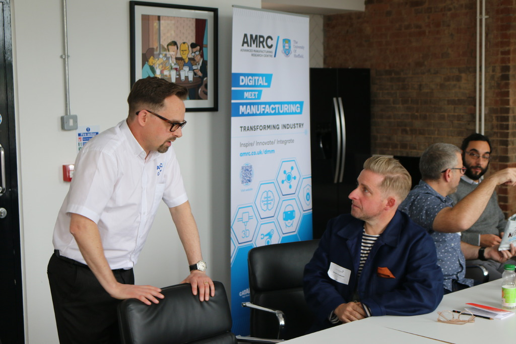 The AMRC's Deputy Head of Digital, Jonathan Bray, talks to businesses at one of the Digital Meet Manufacturing 'Lunch & Learn' events at Sheffield Technology Parks.
