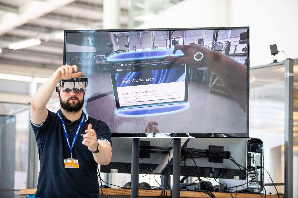 Digital Software Engineer Jake Senior demonstrates some of the technology available to SMEs in the Sheffield City Region.
