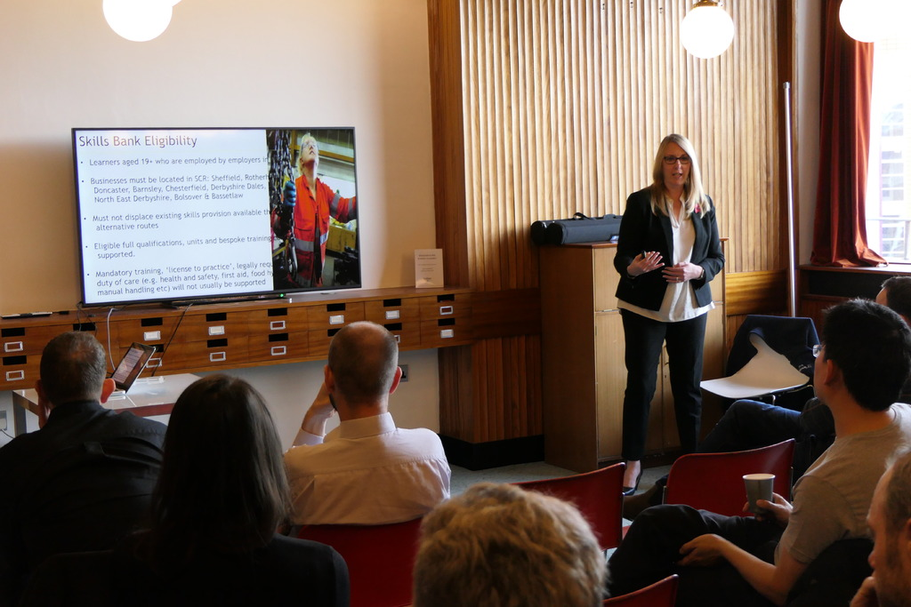 Senior Programme Manager at Sheffield City Region, Wendy Dodson, explaining the funding available to businesses.