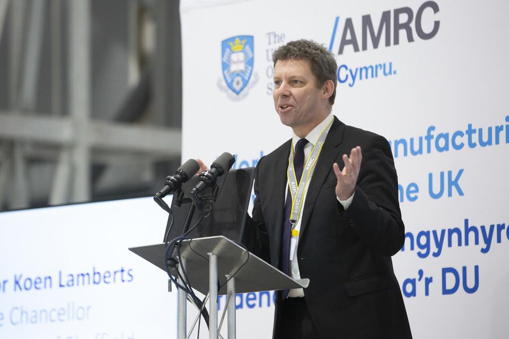Prof Koen Lamberts speaking at the opening of AMRC Cymru.