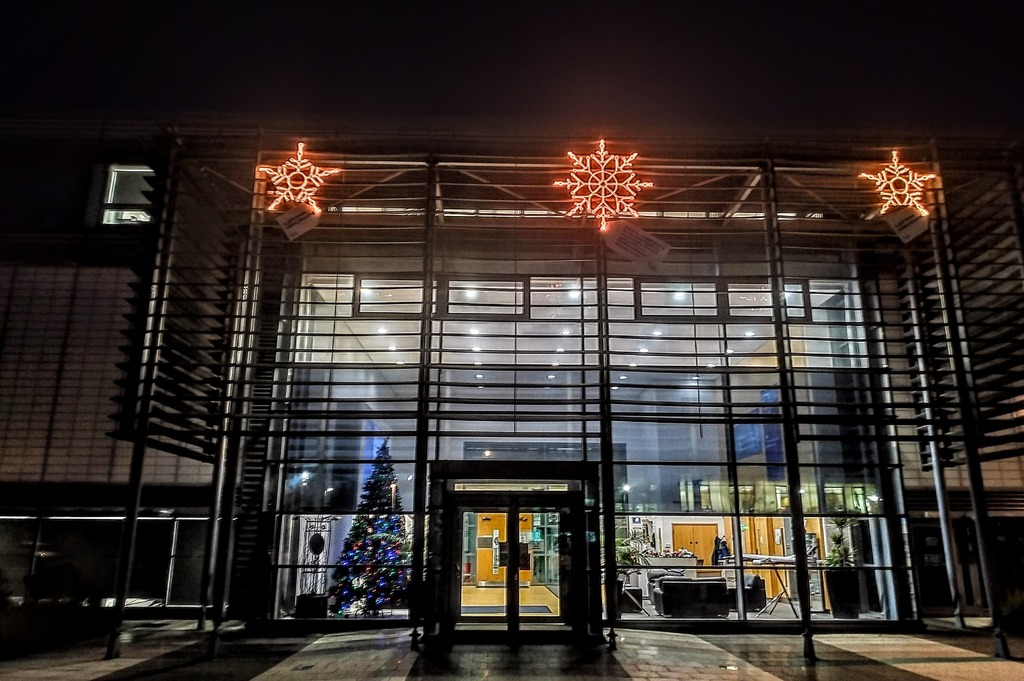 The snowflakes lighting up the exterior of the AMRC Factory of the Future.