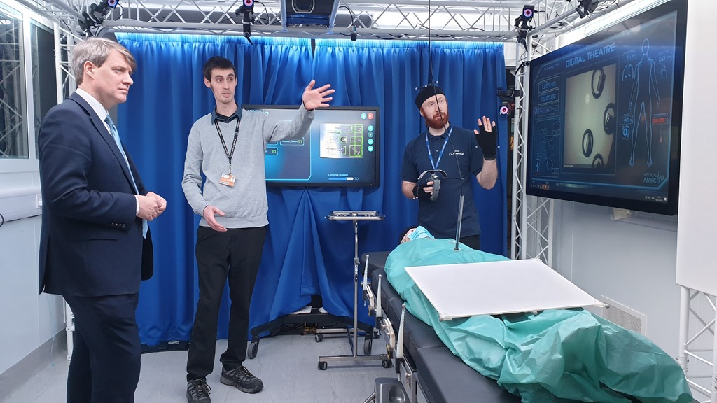 Minister Chris Skidmore hears from the team behind the Digital Operating Theatre project by the Medical AMRC group.