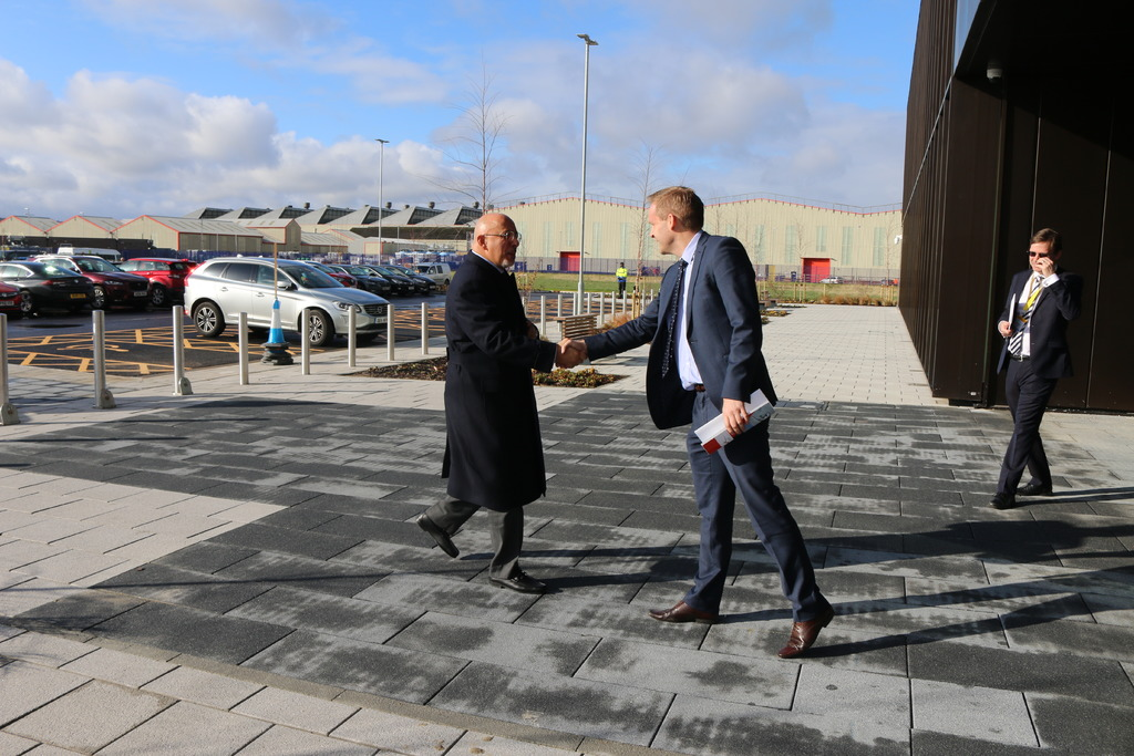 Mr Zahawi is welcomed to AMRC Cymru by Research Director Andy Silcox.