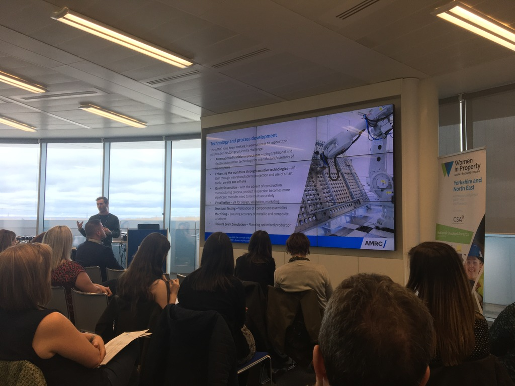 The AMRC's Head of Construction Research, James Illingworth, speaking at the Women in Property event.