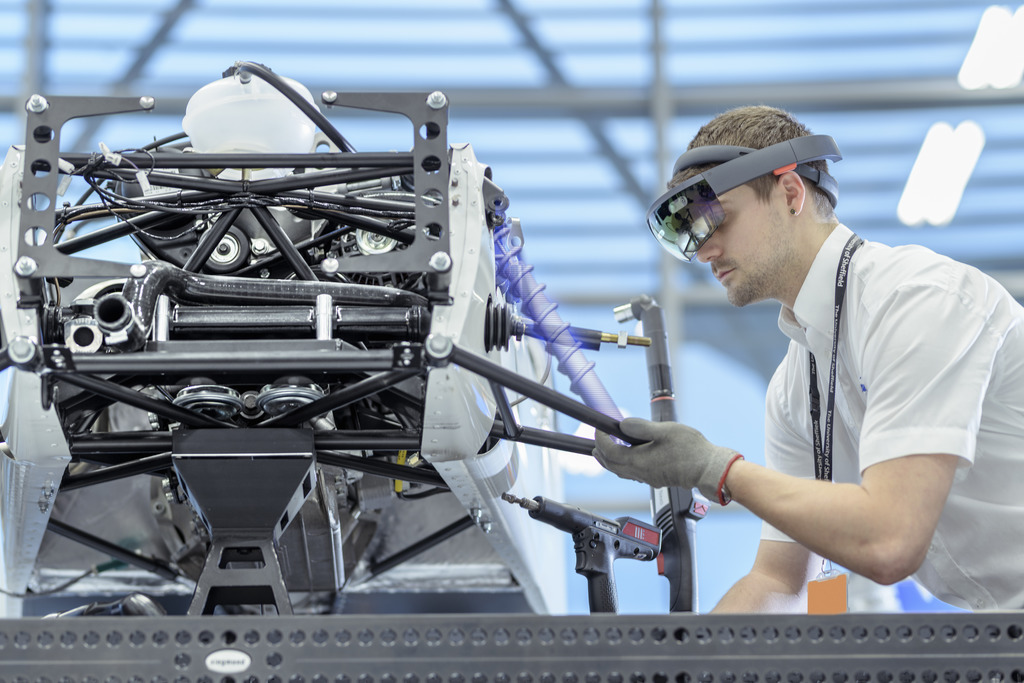 James Lindsay works on the Caterham sports car at the AMRC's Factory 2050.
