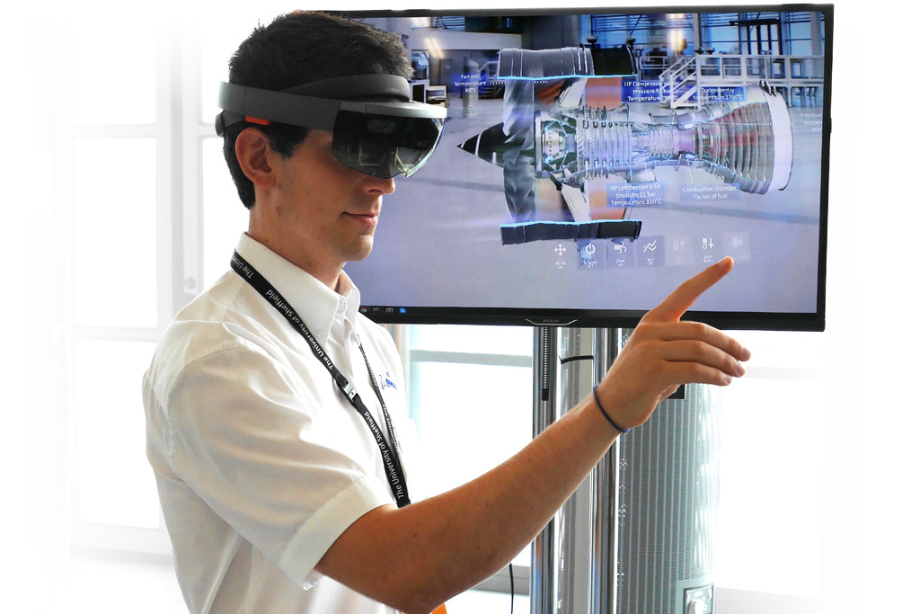 The Microsoft HoloLens is demonstrated by the AMRC's Sean Wilson.