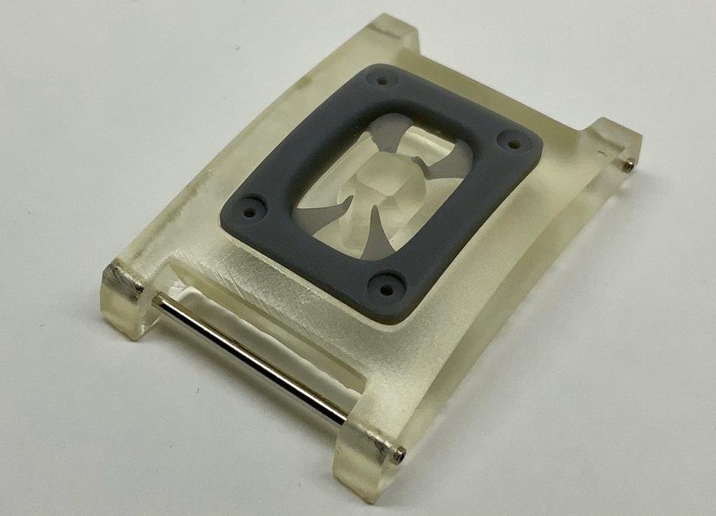 An early stage polymer prototype of the 'rectangle' design.