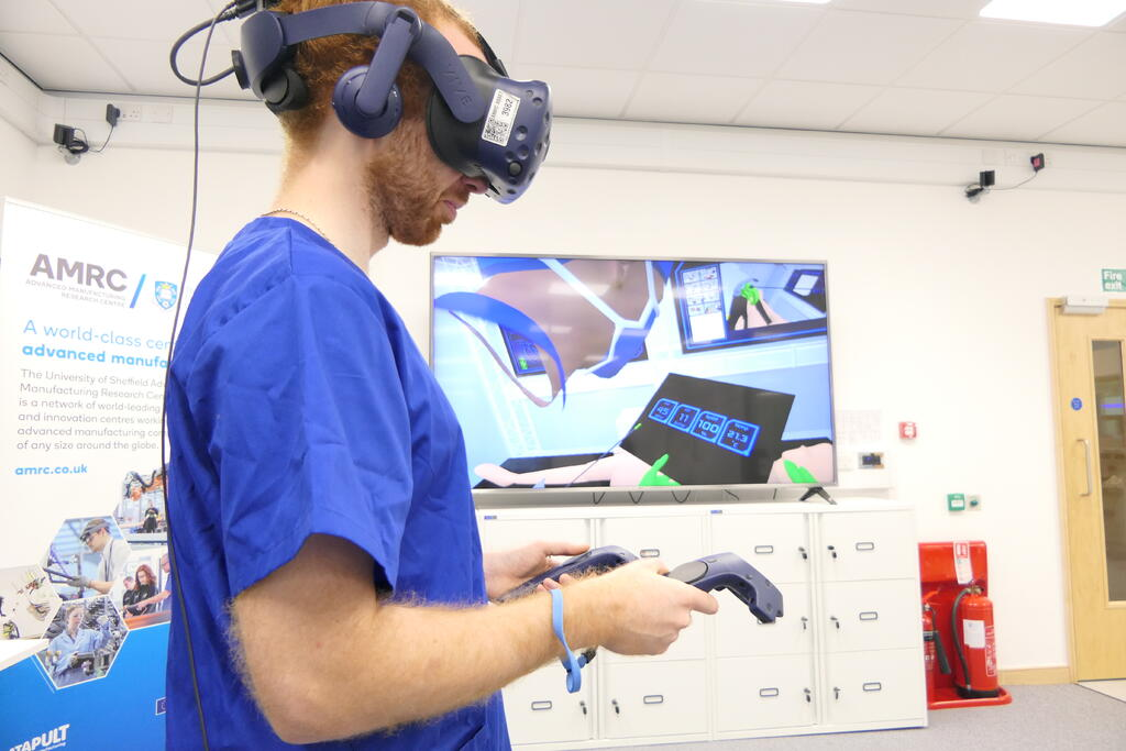 A virtual reality digital twin is demonstrated in the AMRC's Digital Operating Theatre.