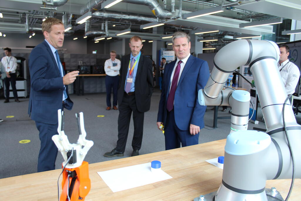 Andy Silcox, the University of Sheffield's Vice-President for Innovation, Professor Dave Petley, and Sir Keir Starmer.