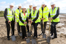 Boeing and AMRC representatives gather at the new Boeing Sheffield site to break ground, (l-r) Don Hendrickson (Boeing), Professor Keith Ridgway (AMRC), Kim Smith (Boeing), James Needham (Boeing Sheffield Operations Manager), Sir Michael Arthur (Boeing), Mike Starr (Boeing) and Adrian Allen (AMRC).